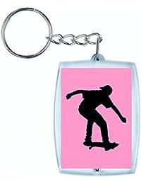"""'Porte-clés """"de skateboard athlète de Jeunes d'Exercice de fitness de santé de jouer humaine de silhouette de Sport Trick en noir/blanc/bleu/rose/jaune/rouge/vert   Caddie–Sac Remorque–Sac à dos–Porte-clés, rose bonbon"""