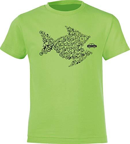 Kinder T-Shirt: Bikes of The World Organize ! - Fahrrad Geschenk-e Jungen & Mädchen - Radfahrer-in Mountain Bike MTB BMX Roller Rad Outdoor Junge Kind - Verkehr Sport Trikot (Grün 164) -