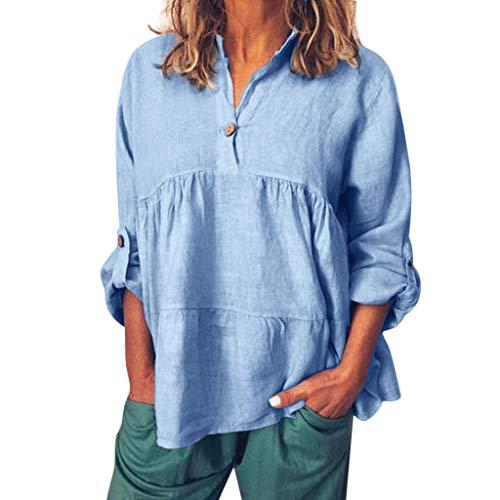 iYmitz 3/4-Arm Damen Streetwear Einfarbig Rundausschnitt Leinen Frauen Freizeit Bluse Sommer Freizeithemd(Z6-Blau,EU-44/CN-2XL) -