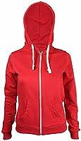New Womens Front Zip Up Hoodie Ladies Long Sleeve Plain Sweatshirt Fleece Hoody Hooded Jacket Burgundy Size 10