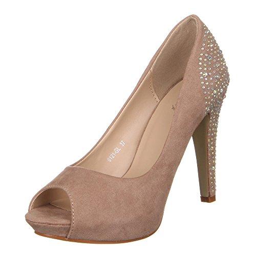 Damen Schuhe Pumps Strass Deko Peep Toe High Heels Ital-Design Hellbraun  [B00WFWRGHG]