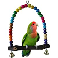 Jiacheng29coloré Bird Parrot Swing jouet support pour cage Cadre calopsitte élégante perruche à suspendre Hamac