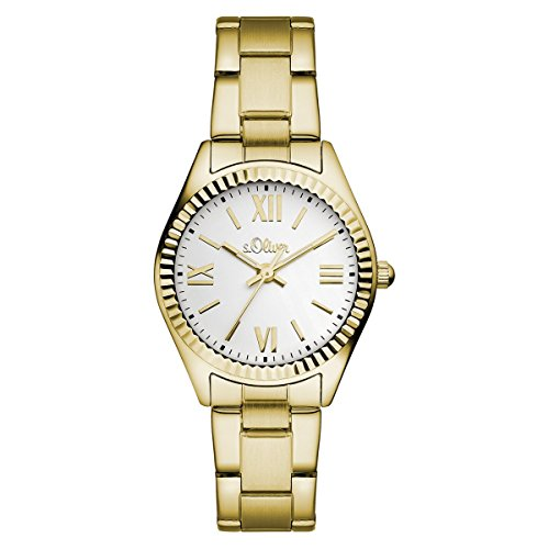 s.Oliver Damen-Armbanduhr Analog Quarz IP Gold SO-15112-MQR