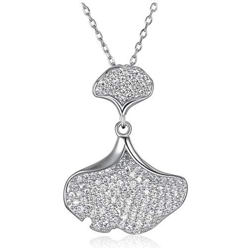 Schmuck Frauen 925 Sterling Silber Zircon Collarbone Kettensäge Fan Pendant Sweater Chain Long Halskette Valentines Gifts Allergen-frei -