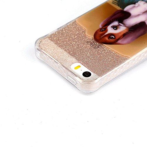 Coque iPhone SE/5/5s, Cozy Hut® [ Anti-Scratch] Ultra Mince Premium TPU silicone Case [Bling Crystal] ** Eclatant et Brillant ** Glitter Crystal Quartz / Bumper-Style / Anti-choc / Adherence exacte /  chien tapis