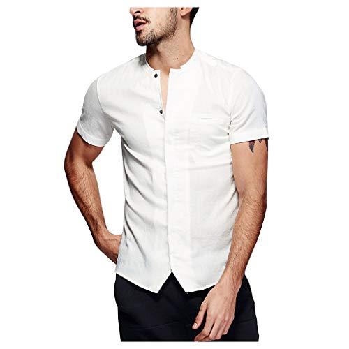 Ginli Camicia Casual Uomo Maglietta da Uomo Baggy Cotone Lino Camicia Manica Corta retrò T-Shirt Girocollo Uomo Camicie Tops Camicetta Vintage