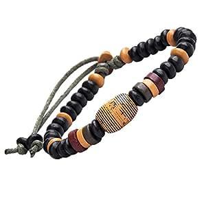 R&B Bijoux - Bracelet Homme Ajustable - Perles Style Woodstock - Cuir & Céramique (Noir, Orange, Rouge)