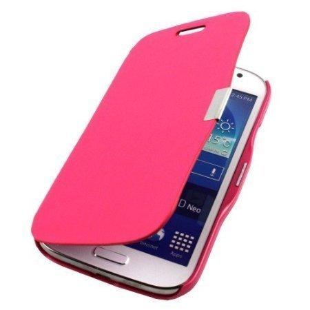 Custodia Flip Cover Plastica Pelle Fucsia per Samsung Galaxy Grand Neo i9060 + 2 pellicole