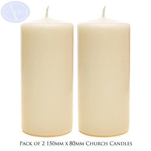 Lot de 2 cierges - ivoire - 70 x 150 mm