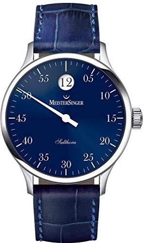 Meistersinger Single Hand Salthora Unisex 40mm Bracelet Cuir Bleu Saphire Automatique Montre SH908
