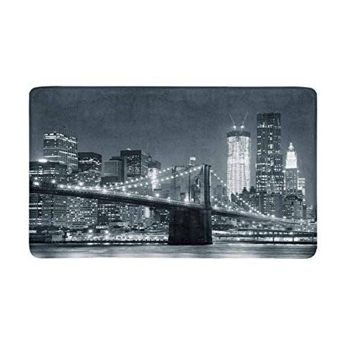 Soefipok NYC York City Brooklyn Bridge mit Downtown Skyline Fußmatte Anti-Rutsch Eingangsmatte Boden Teppich Indoor/Outdoor Fußmatten Home Decor, Gummi-Rückseite