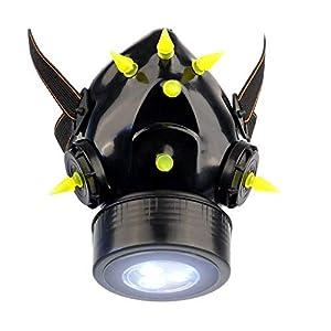 MB-Müller 87323-006-000 - Máscara de gas con pinchos UV y luz LED, unisex, color negro