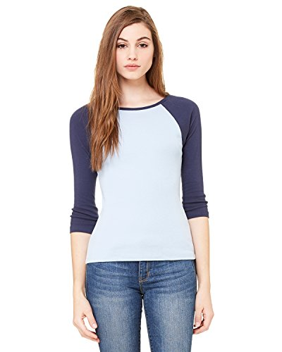 Ladies' Baby Rib 3/4-Sleeve Contrast Raglan T-Shirt BABY BLUE/ NAVY L -
