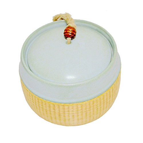 Chitao Chinese Ceramics Porcelain Bamboo Weaving Weave Cyan Tea Canister Jar Holder