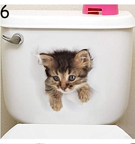 SAOJI 2 sätze Cartoon Tier 3D Wc Aufkleber auf Dem Toilettensitz Nette Katzen PVC Wandaufkleber Bad Kühlschranktür Decor Aufkleber Decals, 06 -
