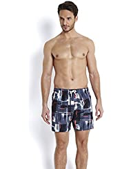 Speedo Men 's silverbeach Printed Check Leisure Watershorts – Black/USA Charcoal/Psycho – Rojo, Mediana/16