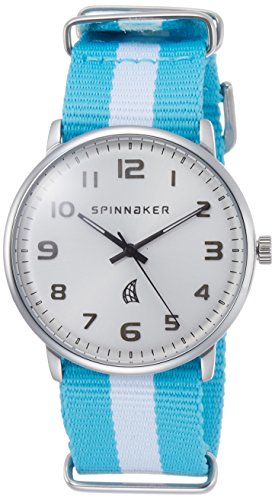 Spinnaker Nantucket Unisex Quartz Watch with Silver White Dial Display on Blue and White Dual Colour Nylon Nato Strap  SP-5026-01