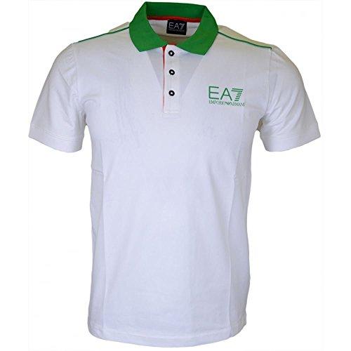 Polo uomo EA7 Emporio Armani 7 ea bianco verde 273967 slim jersey cotone italia - Taglia L