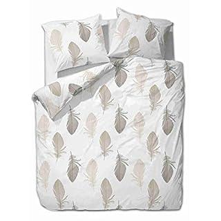 etérea Himmlische Qualität 2 TLG. Renforcé Bettwäsche Federn - 100% Baumwolle Bettbezug, Weiß Braun Grau, 135x200 cm + 80x80 cm