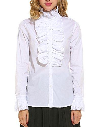 cooshional Damen Viktorianische Chiffon Bluse Rüschen Langarm Stehkragen Vintage Hemd Tops Shirts (Rüschen Viktorianische Bluse)