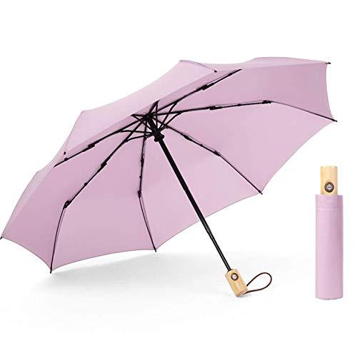 WENZHEN Vintage Massivholz-Griffschirm, automatischer Öffnungs- und Schließklappschirm, Business-Regenschirm für Herren und Damen, lila -