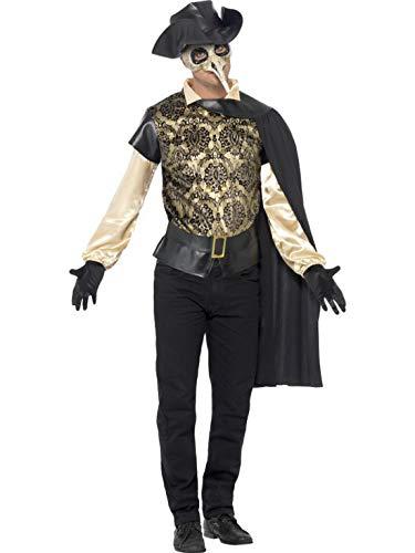 Karnevalsbud - Herren Männer Kostüm venezianischer Pestarzt Arzt Masquerade,mit Oberteil Umhang Handschuhen und Hut perfekt für Halloween Karneval und Fasching, L, Schwarz