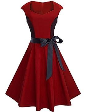 HOMEYEE Spalla del nastro Vintage Chic rappezzatura del merletto di goccia delle donne swing Vestiti A025
