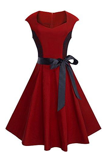 HOMEYEE Frauen Weinlese schicke Spitze Patchwork Tropfen Schulter Band Schwingen Kleid A025 (EU 40 = Size L, Rot) (Bogen Peplum)