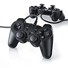CSL - 2x Manettes pour PlayStation 2 avec câble   Dual Vibration   Set avec 2 Joypad Controllers   Easy Plug & Play
