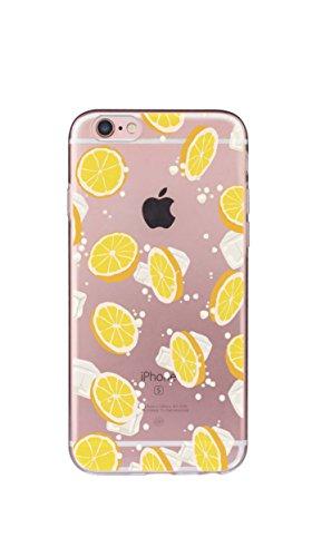 Custodia iPhone 8/7, Silicone Trasparente Morbida Clear Gel Cover, Ultra Slim Antiurto Anti-Graffio Bumper Case con Disegni-Ragazza e cucciolo limone