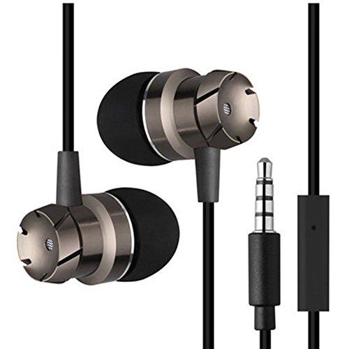 HINMAY In-Ear-Kopfhörer, 3,5 mm, Turbo-Metall, Wurm-Gang, Bass-Kopfhörer mit Mikrofon, Drahtgürtel, Computer, Handy-Kopfhörer, Zubehör, Schwarz -