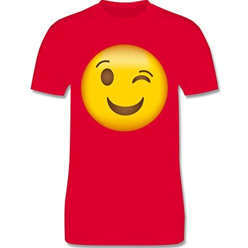 Shirtracer Comic Shirts - Zwinker Emoji - Herren T-Shirt Rundhals Rot