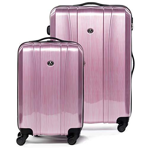 FERGÉ Kofferset 2-teilig Hartschale Dijon Handgepäck 55 cm & XL Koffer Trolley-Hartschalenkoffer Set 4 Rollen 100{c9cd62984bd4d45283f55b9b2ce1d3a4f4837b121fde77a0fe9847d4a9d0bf43} ABS & PC pink