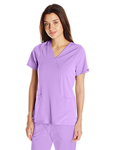 WonderWink Women's Hp Axis Mock Wrap Scrub Top, Orchid, - Wrap Mock Womens Scrubs