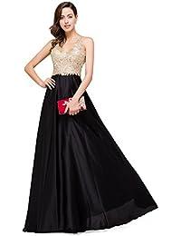 Misshow V Neckline A-Line Backless Long Gold Evening Dresses