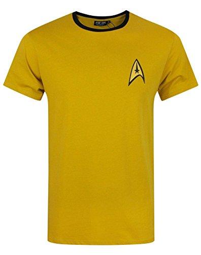 Star Trek officiel - T-shirt pour homme - uniforme Spock/Scotty/Capitaine Kirk - Jaune - Medium