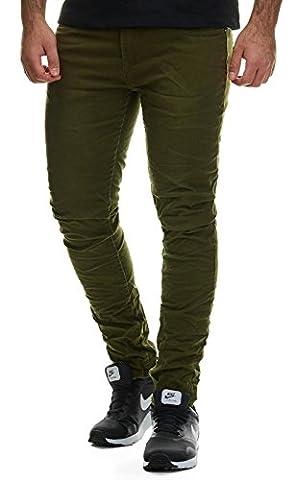 EightyFive Herren Denim Jeans-Hose Slim Fit Klassisch Schwarz Weiß Khaki EF1515, Hosengröße:W32 L32,