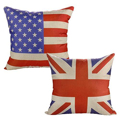 Luxbon Conjunto de 2 Fundas Cojín Almohada Lino Duradero Bandera USA y...