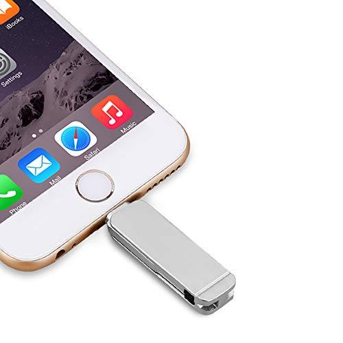 3 in 1 penna USB Micro Drive Flash USB 3.0 ad alta velocità per iPhone Pen Drive i-Flash per iphone 7/6 / 6S / 5 / ipad Samsung (256GB, Silver)