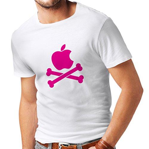 N4269 Männer T-Shirt Lustiger Apfel und Knochen (X-Large Weiß Magenta)