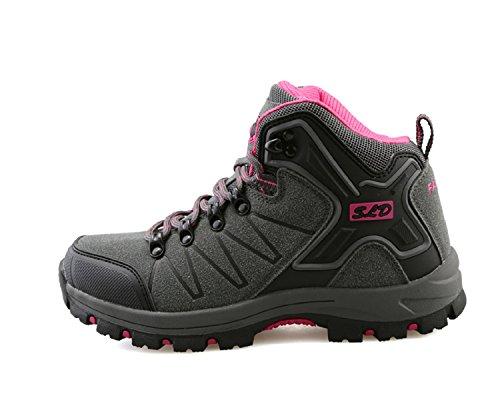 tqgold Scarpe da Trekking Uomo Donna,Impermeabile Scarpe da Escursionismo Arrampicata Stivali in Pelle (36 EU,Grigio Rosa)