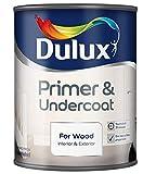 Dulux Primer & Undercoat for Wood 0,75 L - Tapaporos (Madera, Preparado, Al agua, Opaco, Cuarto de baño, Dormitorio, Habitación de los niños, Salón co
