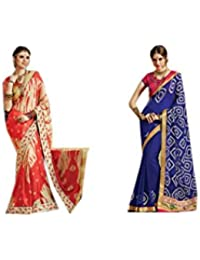 Mantra Fashions Women's Georgette Saree (Mant33_Multi)-Pack of 2