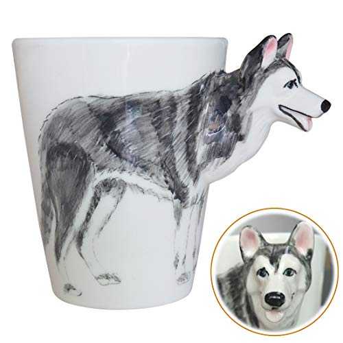 WEY&FLY 3D Hund große Kaffeetasse Keramik Tier Tasse Mugs Kaffeebecher als Geschenk mit Hunde Design für Tierfreunde,Hundeliebhaber,Handmade 325 ml (Husky)