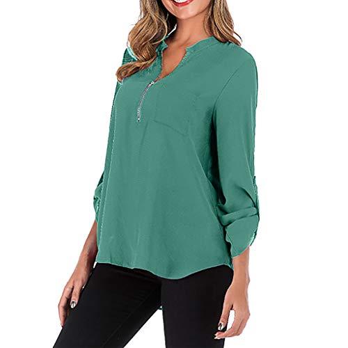 Yvelands Damen Plus T-Shirt Größen-Reine Farben-Lange Hülsen-Reißverschluss-Taschen-einfaches Blusen-Spitzenhemd