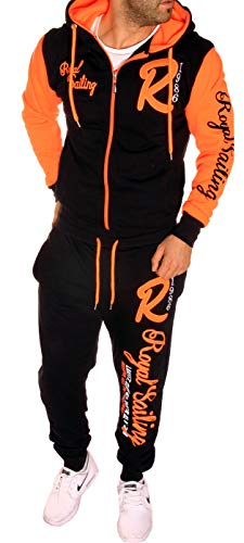 Herren Fitness Jogginganzug Sportanzug Trainingsanzug A. Royal Sailing (M, Schwarz-Orange)