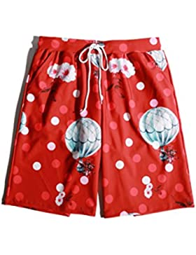 HAIYOUVK Men'S Five Beach Shorts Large Size Quick-Drying Beach Floats Sweat Pants Men'S Hot Spring Pants,L,Red...