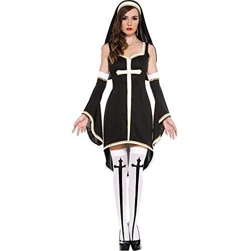 Fashion-Cos1 Sexy Nonne Kostüm Erwachsene Frauen Cosplay Kleid Mit Schwarzer Kapuze Für Halloween Schwester Cosplay Party Kostüm Nonne Outfits (Sexy Schwester Nonne Kostüm)