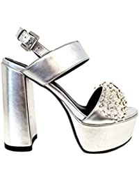 Sandalias Plateado Novia Pumps Ceremonia Mujer tacón Alto Plateau  Particular Elegantes Matrimonio Zapatos Boda Shoes Woman c2ef0bf9da79