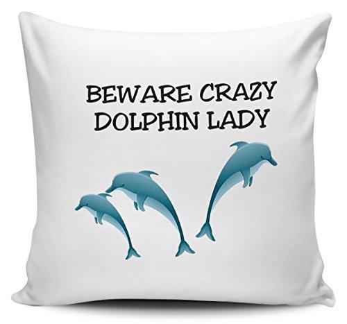 Vorsicht vor Crazy Dolphin Lady Kissenbezug